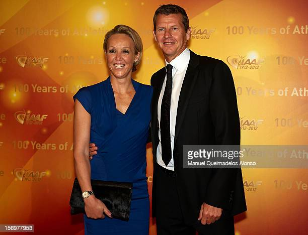 Steve Cram of Great Britain and Allison Curbishley of Great Britain attends the IAAF Centenary Gala at the Museo Nacional d'Art de Catalunya on...