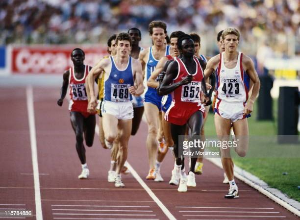 Steve Cram races Joseph Chesire and JensPeter Herold during the Men's 1500 metres final event at the 2nd IAAF World Athletics Championships on 6th...