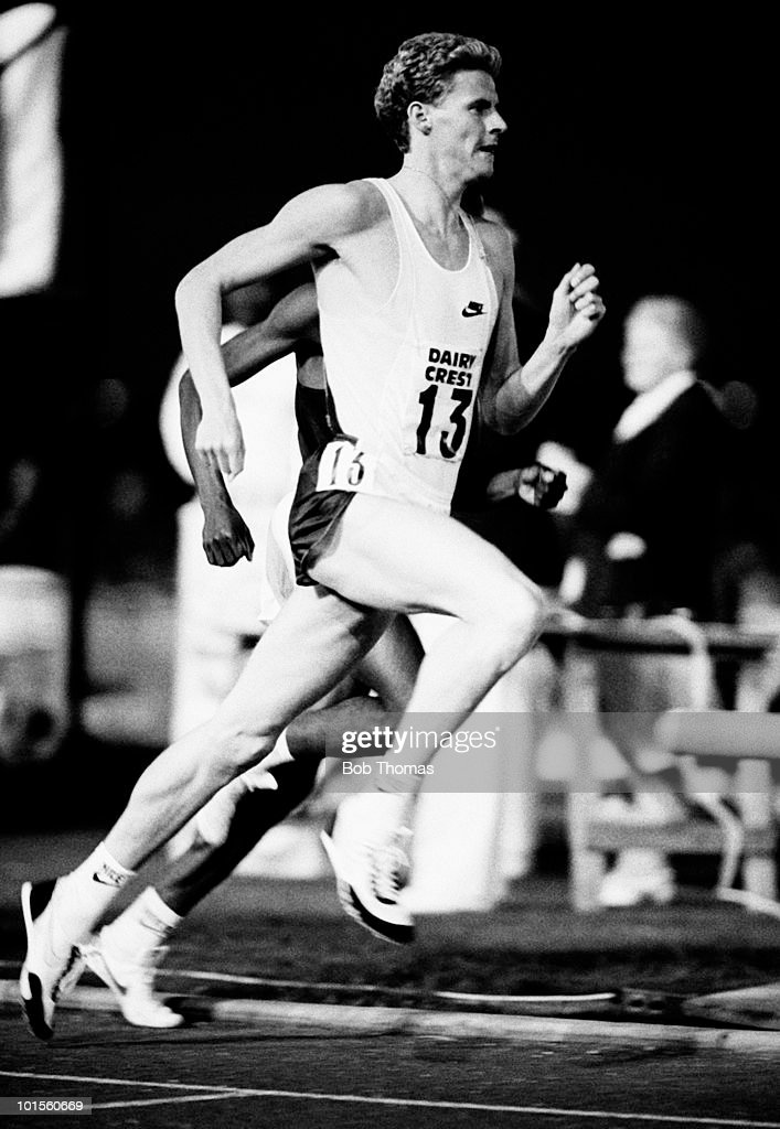 Steve Cram running for Great Britain at the Dairy Crest Athletics meeting held at Alexander Stadium, Birmingham on 19th August 1986. (Bob Thomas/Getty Images).
