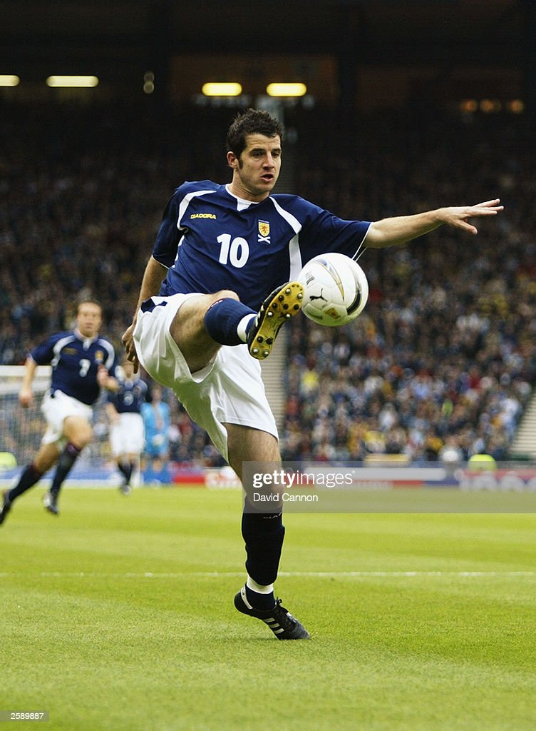 Steve Crawford of Scotland controls the ball during the UEFA European Championships 2004 Group 5 Qualifying match between Scotland and Lithuania held on October 11, 2003 at Hampden Park, in Glasgow, Scotland. Scotland won the match 1-0.