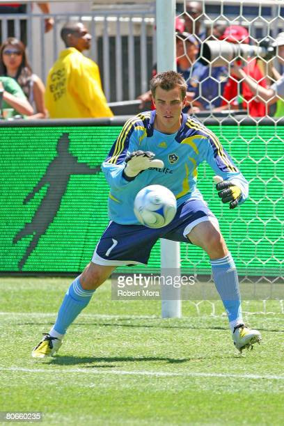 Steve Cronin of the Los Angeles Galaxy stops a shot during their MLS game against Toronto FC at the Home Depot Center April 13 2008 in Carson...