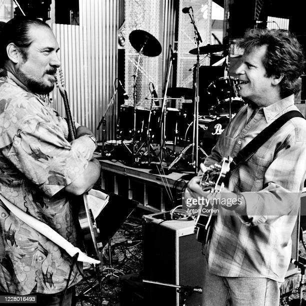 Steve Cropper and John Foggerty are photographed during preparations for the first concert for the Rock and Roll Hall of Fame Museum on September 2...