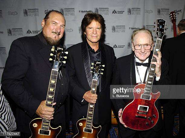 Steve Cropper John Fogerty and Les Paul during 36th Annual Songwriters Hall of Fame Induction Ceremony VIP Cocktail Reception at Marriott Marquis...