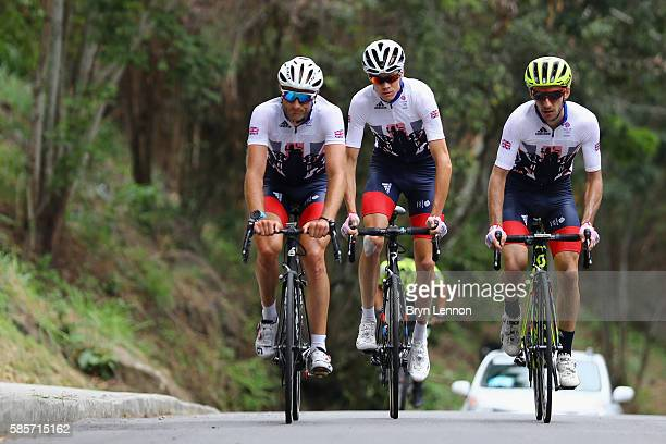 Steve Cummings Chris Froome and Adam Yates of Team GB and British Cycling in action during a Team GB training ride on August 3 2016 in Rio de Janeiro...
