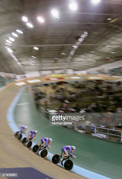 Steve Cummings Rob Hayles Paul Manning and Chris Newton members of the Great Britain team pursuit during the qualification round at the UCI Track...