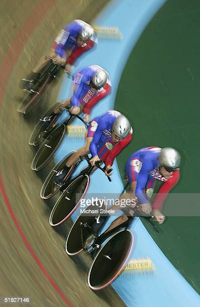 Steve Cummings Rob Hayles Paul Manning and Chris Newton members of the Great Britain team pursuit in action on their way to victory against Spain...