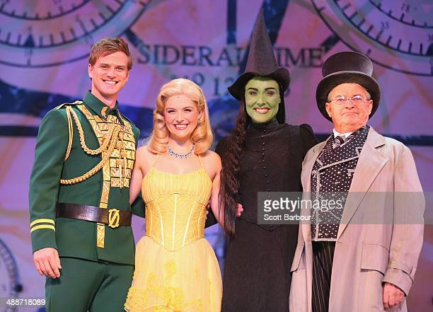 Steve Danielson as Fiyero Lucy Durack as Glinda Jemma Rix as Elphaba and Reg Livermore as the Wizard pose during a WICKED production media call at...