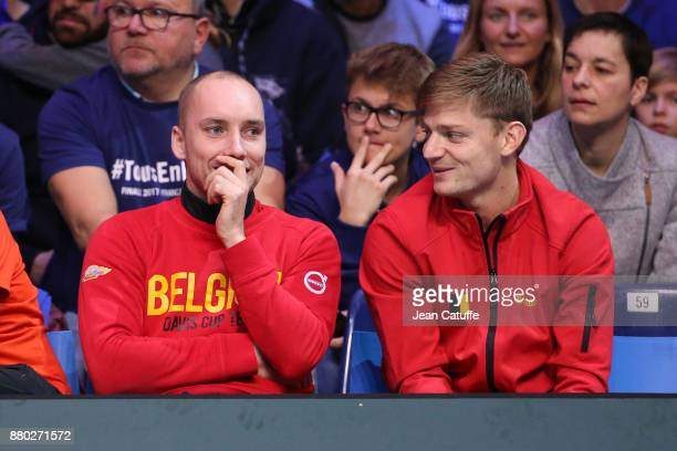 Steve Darcis David Goffin of Belgium during the doubles match on day 2 of the Davis Cup World Group final between France and Belgium at Stade Pierre...