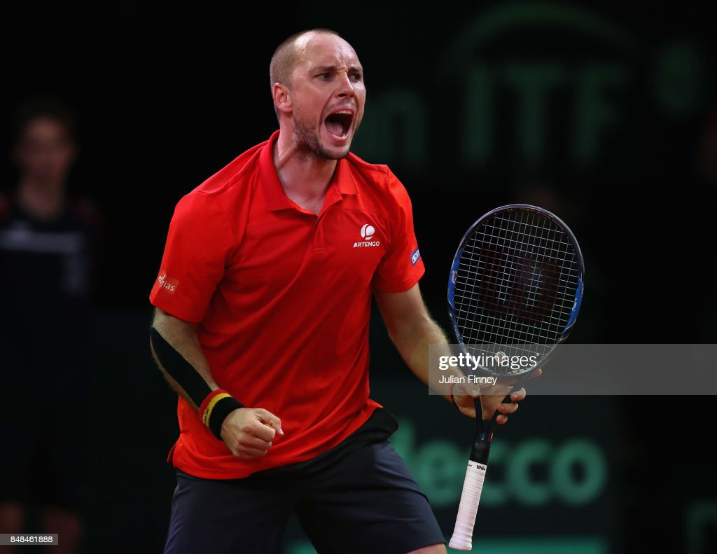 Steve Darcis of Belgium celebrates ater winning the second set against Jordan Thompson of Australia during day three of the Davis Cup World Group semi final match between Belgium and Australia at Palais 12 on September 17, 2017 in Brussels, Belgium.