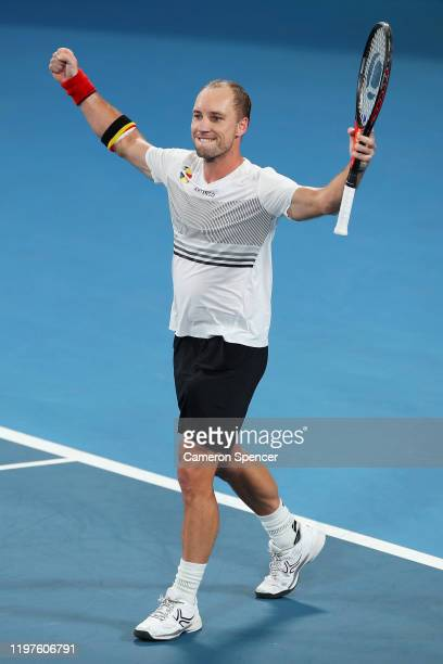Steve Darcis of Belgium celebrates match point during his Group C singles match against Cameron Norrie of Great Britain during day three of the 2020...