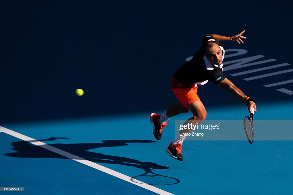 Steve Darcis of Belgium returns a shot against Dusan Lajovic of Serbia during the Men's singles second round on day five of 2017 China Open at the China National Tennis Centre on October 4, 2017 in Beijing, China.
