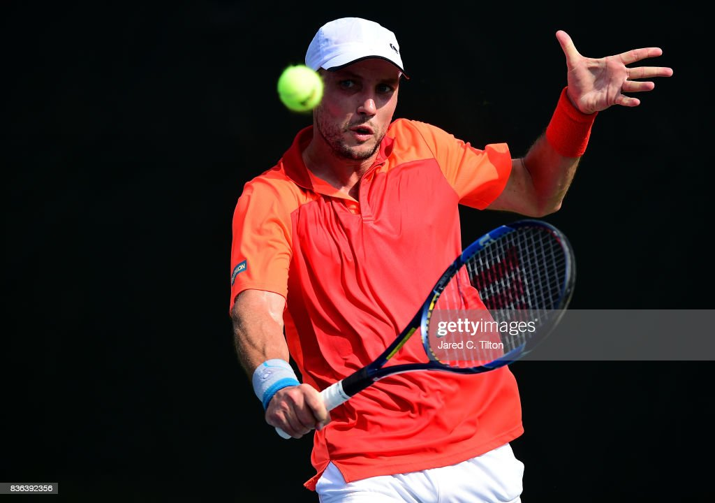 Steve Darcis of Belgium returns a shot from Andrey Rublev of Russia during the third day of the Winston-Salem Open at Wake Forest University on August 21, 2017 in Winston Salem, North Carolina.