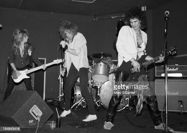 Steve Darrow Axl Rose Steven Adler and Slash of the rock group 'Hollywood Rose' perform at the Madame Wong's East on June 28 1984 in Los Angeles...