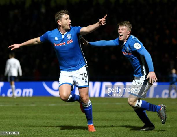 Steve Davies of Rochdale AFC celebrates scoring the second Rochdale AFC goal with Andrew Cannon of Rochdale AFC during The Emirates FA Cup Fifth...