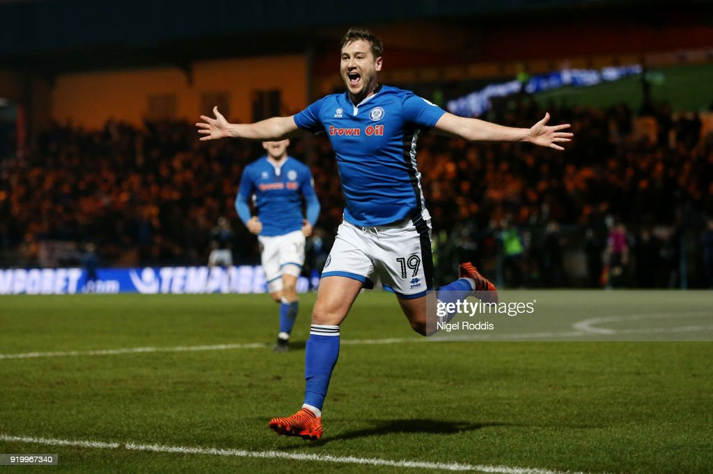 Steve Davies of Rochdale AFC celebrates scoring the second Rochdale goal AFC during The Emirates FA Cup Fifth Round match between Rochdale and Tottenham Hotspur on February 18, 2018 in Rochdale, United Kingdom.