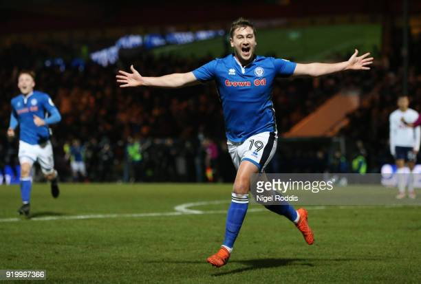 Steve Davies of Rochdale AFC celebrates scoring the second Rochdale goal AFC during The Emirates FA Cup Fifth Round match between Rochdale and...