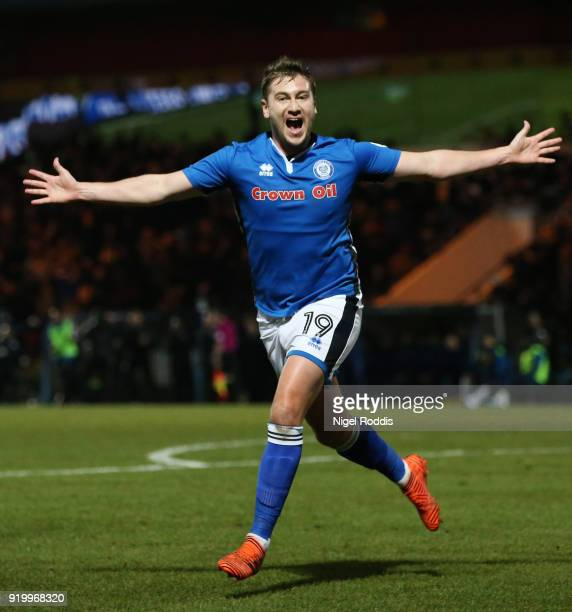 Steve Davies of Rochdale AFC celebrates scoring the second Rochdale AFC goal during The Emirates FA Cup Fifth Round match between Rochdale and...