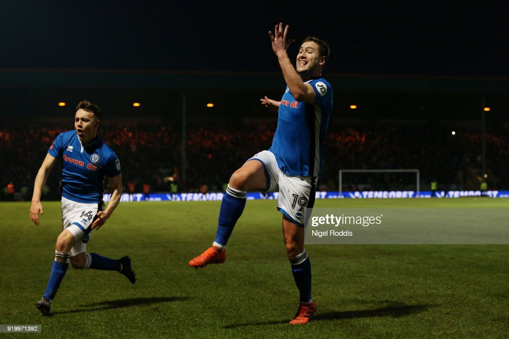 Steve Davies of Rochdale AFC celebrates scoring the second Rochdale AFC during The Emirates FA Cup Fifth Round match between Rochdale and Tottenham Hotspur on February 18, 2018 in Rochdale, United Kingdom.