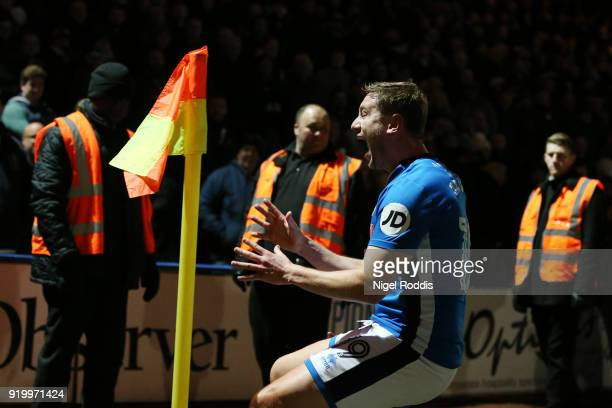 Steve Davies of Rochdale AFC celebrates scoring the second Rochdale AFC during The Emirates FA Cup Fifth Round match between Rochdale and Tottenham...