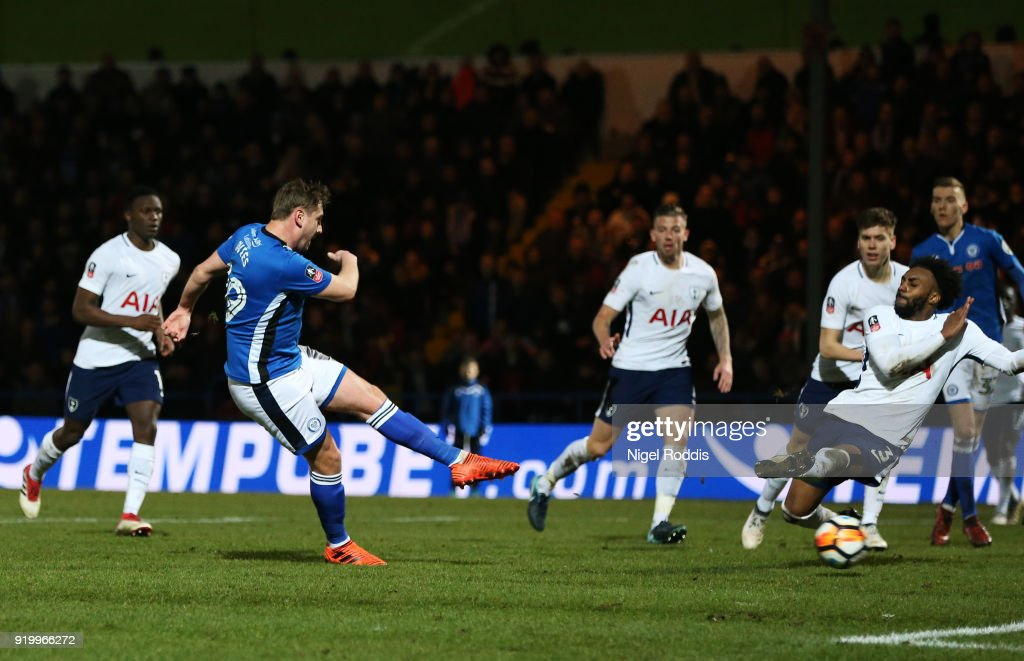 Steve Davies of Rochdale AFC scores the second Rochdale AFC goal during The Emirates FA Cup Fifth Round match between Rochdale and Tottenham Hotspur on February 18, 2018 in Rochdale, United Kingdom.