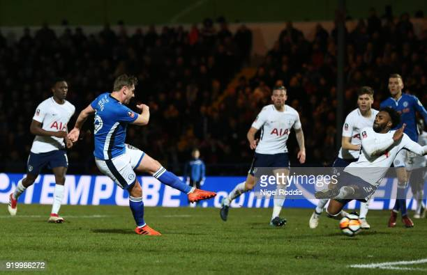 Steve Davies of Rochdale AFC scores the second Rochdale AFC goal during The Emirates FA Cup Fifth Round match between Rochdale and Tottenham Hotspur...
