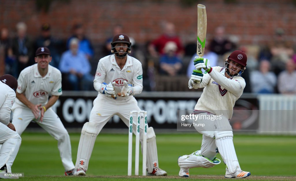 Steve Davies of Somerset bats during the Specsavers County Championship Division One match between Somerset and Surrey at The Cooper Associates County Ground on August 7, 2017 in Taunton, England.