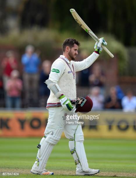 Steve Davies of Somerset celebrates his century during Day Two of the Specsavers County Championship Division One match between Somerset and Surrey...