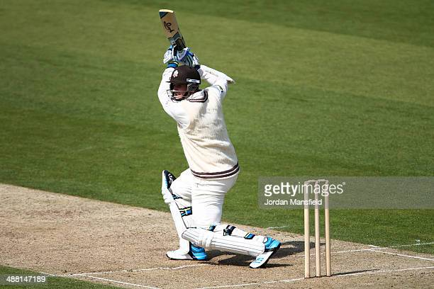 Steve Davies of Surrey hits out during day one of the LV County Championship second division match between Kent and Surrey at St Lawrence Ground on...