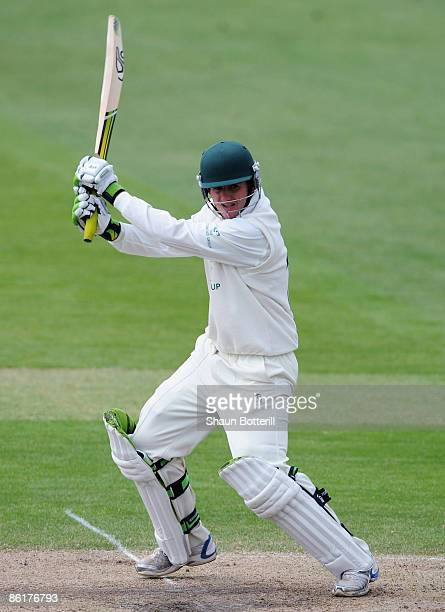 Steve Davies of Worcestershire plays a shot during the third day of the LV County Championship match between Nottinghamshire and Worcestershire at...
