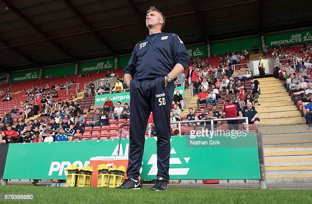 Steve Davis manager of Crewe Alexandra looks on during to the PreSeason Friendly between Crewe Alexandra and Bolton Wanderers at The Alexandra...