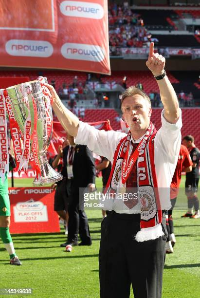 Steve Davis Manger of Crewe Alexandra lifts the trophy at the end of the npower League two playoff final between Cheltenham Town and Crewe Alexandra...