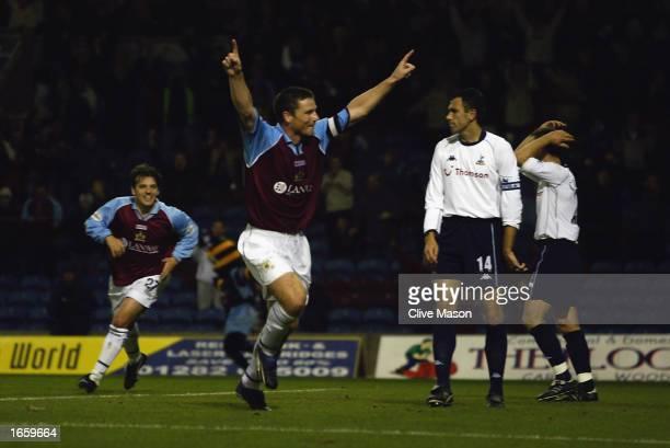 Steve Davis of Burnley celebrates scoring the winning goal during the Worthington Cup third round match between Burnley and Tottenham Hotspur held on...