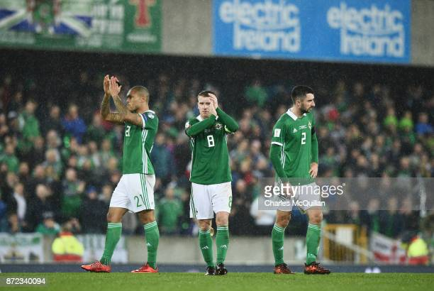 Steve Davis of Northern Ireland applauds the fans after the FIFA 2018 World Cup Qualifier PlayOff first leg between Northern Ireland and Switzerland...