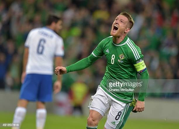 Steve Davis of Northern Ireland celebrates after scoring his side's third goal against Greece during the Euro 2016 Group F international football...