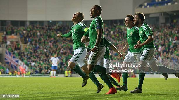 Steve Davis of Northern Ireland celebrates after scoring his side's first goal against Greece during the Euro 2016 Group F international football...