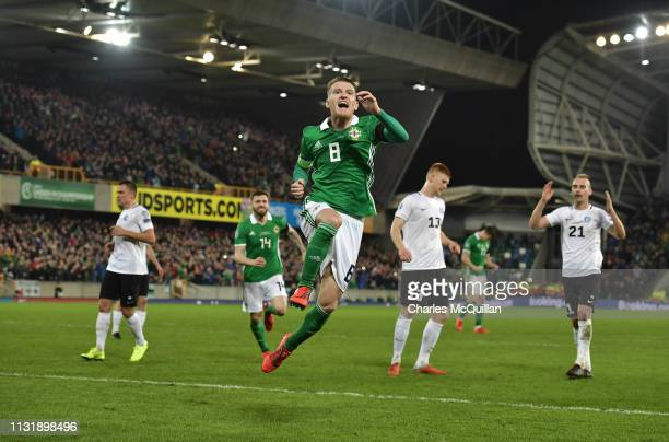 Steve Davis of Northern Ireland celebrates with team mates after scoring during the 2020 UEFA European Championships group C qualifying match between...