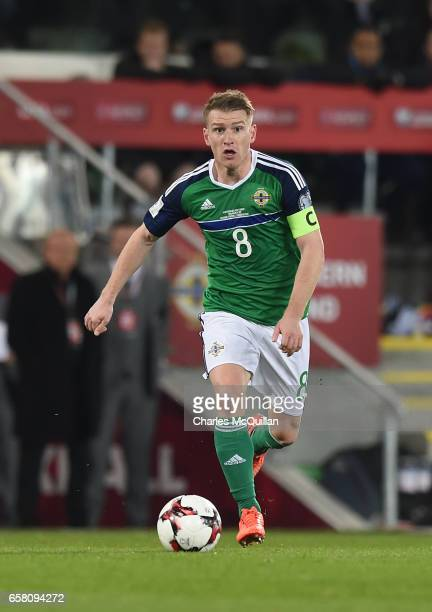 Steve Davis of Northern Ireland during the FIFA 2018 World Cup Qualifier between Northern Ireland and Norway at Windsor Park on March 26 2017 in...
