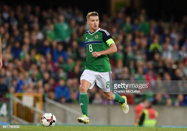 Steve Davis of Northern Ireland during the international friendly football match between Northern Ireland and New Zealand at Windsor Park on June 2...