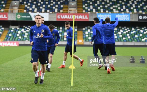 Steve Davis of Northern Ireland during the squad training session at Windsor Park on November 8 2017 in Belfast Northern Ireland Northern Ireland...