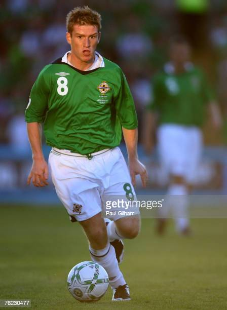Steve Davis of Northern Ireland in action during the Euro2008 Group F qualifying match between Northern Ireland and Liechtenstein at Windsor Park on...