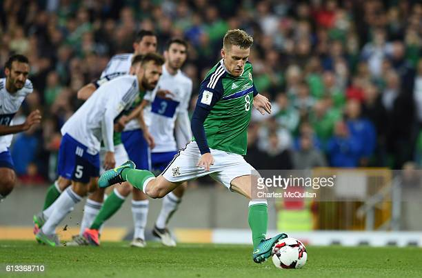 Steve Davis of Northern Ireland scores a penalty during the FIFA 2018 World Cup Qualifier between Northern Ireland and San Marino at Windsor Park on...