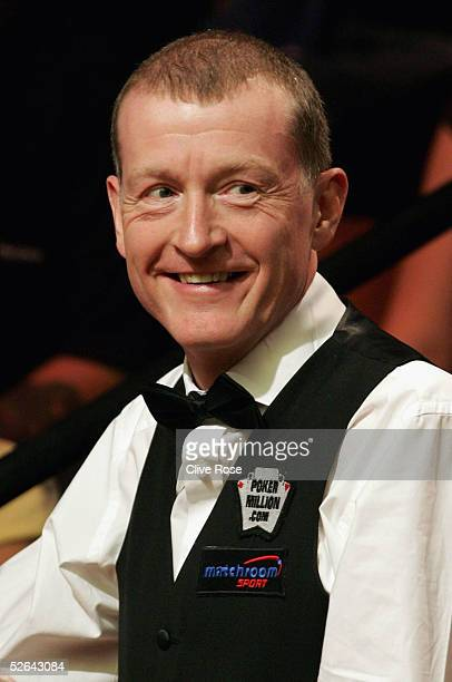Steve Davis shares a smile during his first round match against Gerard Greene at the Embassy World Snooker Finals at the Crucible Theatre on April 17...