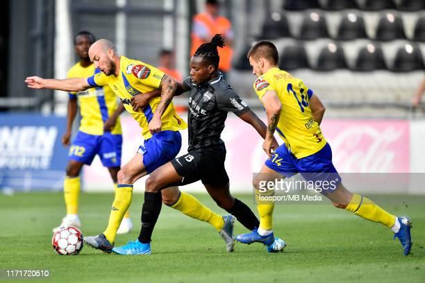 Steve De Ridder of STVV and Sibiry Keita of Kas Eupen fight for the ball during the Jupiler Pro League match between AS Eupen and SintTruidense VV at...