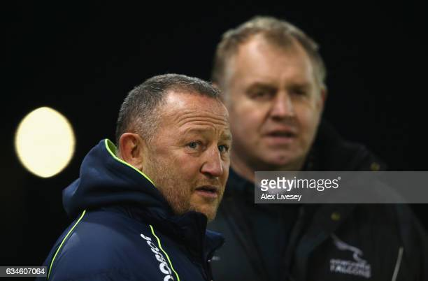 Steve Diamond the Director of Rugby at Sale Sharks and Dean Richards the Director of Rugby at Newcastle Falcons chat prior to the Aviva Premiership...
