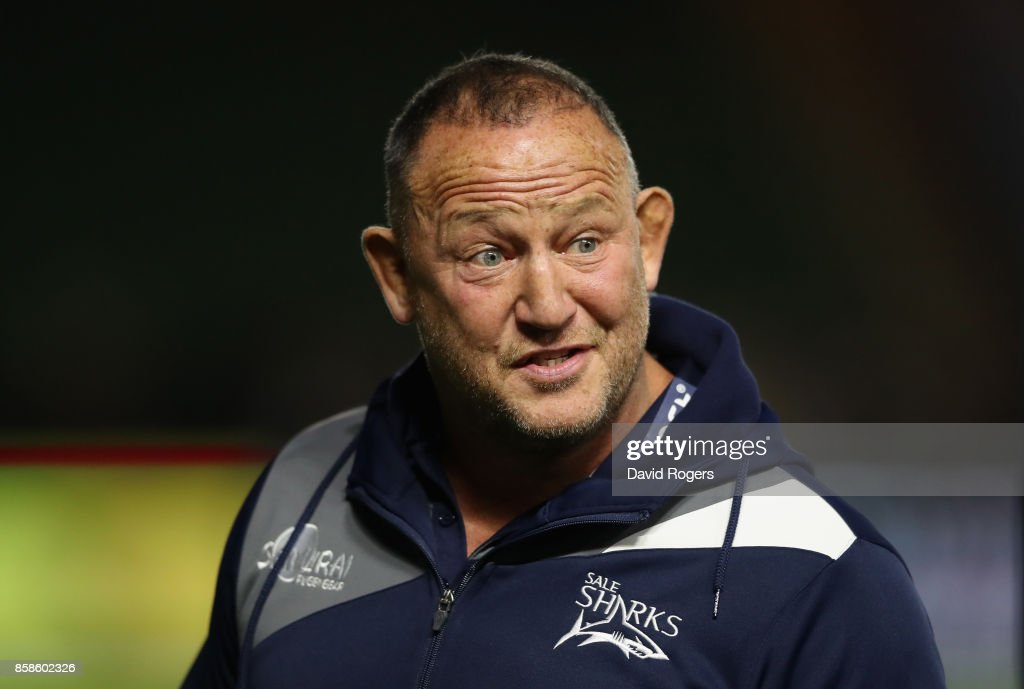 Steve Diamond, the Sale Sharks director of rugby looks on during the Aviva Premiership match between Harlequins and Sale Sharks Sharks at Twickenham Stoop on October 6, 2017 in London, England.