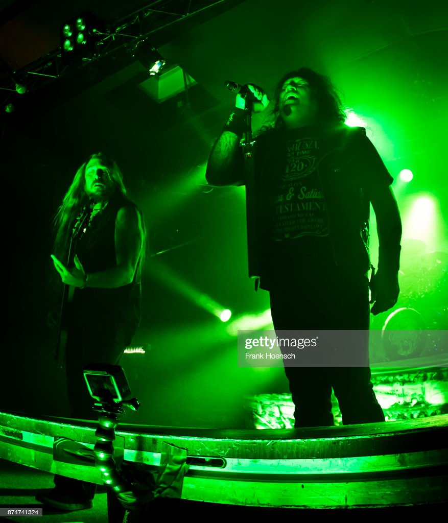 Steve DiGiorgio and Chuck Billy of the American band Testament perform live on stage during a concert at the Astra on November 14, 2017 in Berlin, Germany.
