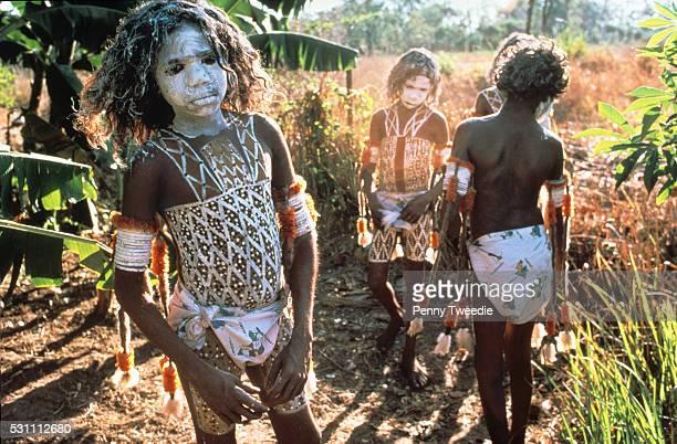 Steve Djunanu Robert Madawali Ralph Baymonunbi Bruce Bulun Bulun ready for their initiation ceremony at Nangalala 1979