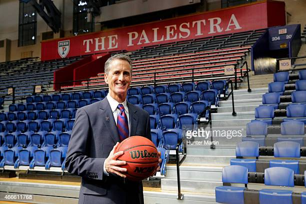 Steve Donahue poses for a photo after being introduced as the 20th head coach of men's basketball at the University of Pennsylvania, at the Palestra...