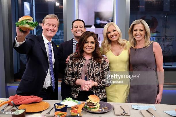 Steve Doocy Brian Kilmeade Rachael Ray Anna Kooiman and Cheryl Casone pose on the set of Fox Friends at FOX Studios on February 17 2016 in New York...
