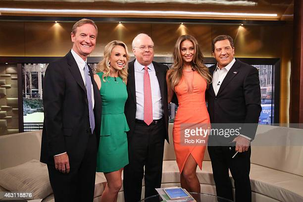 Steve Doocy Elisabeth Hasselbeck Karl Rove Hannah Davis and Eric Bolling pose for a group photo at 'FOX and Friends' at FOX Studios on February 10...